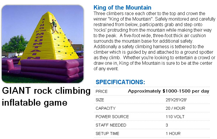rock climbing wall rental 232