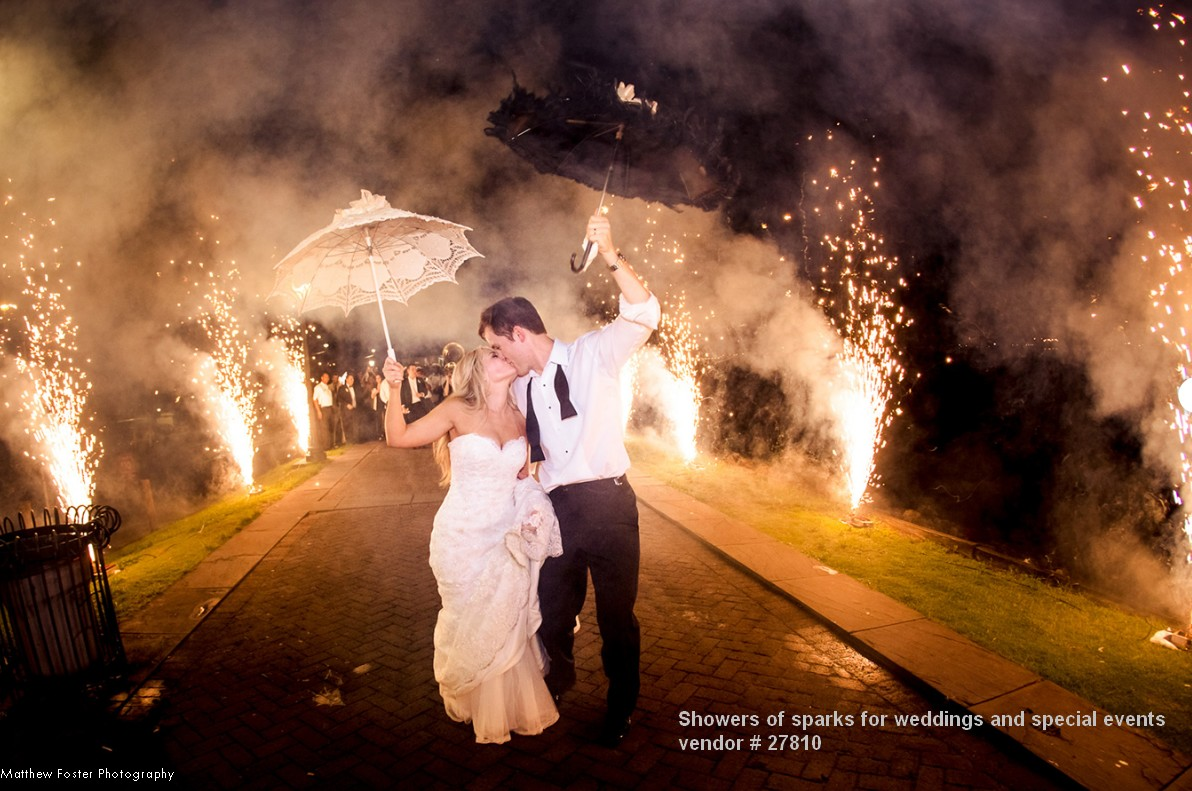 showers sparks weddings fireworks pyrotechnics private events 27810