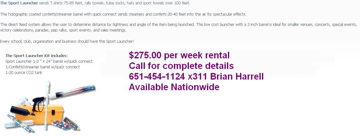 sport launcher t shirt launcher for rental