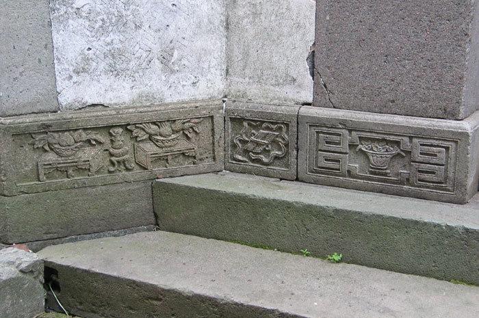 stonework at entrance
