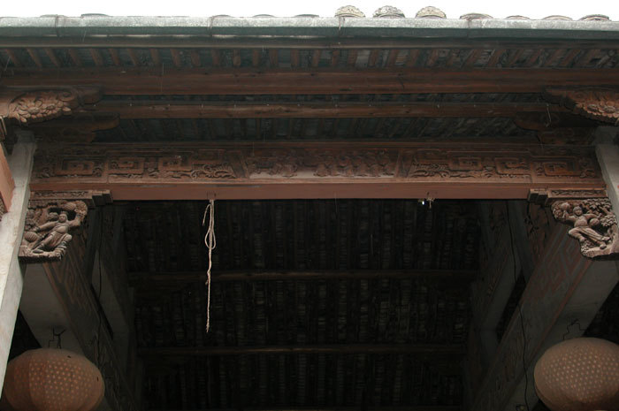 replacement beam in main bay of temple