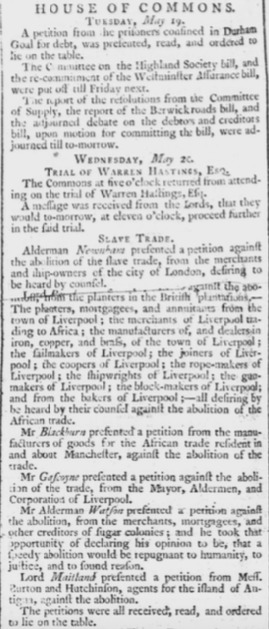 Petitions to British House of Commons in Defense of the Slave Trade