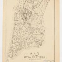 Map of the city of New York, showing the original high water line and the location of the different farms and estates.