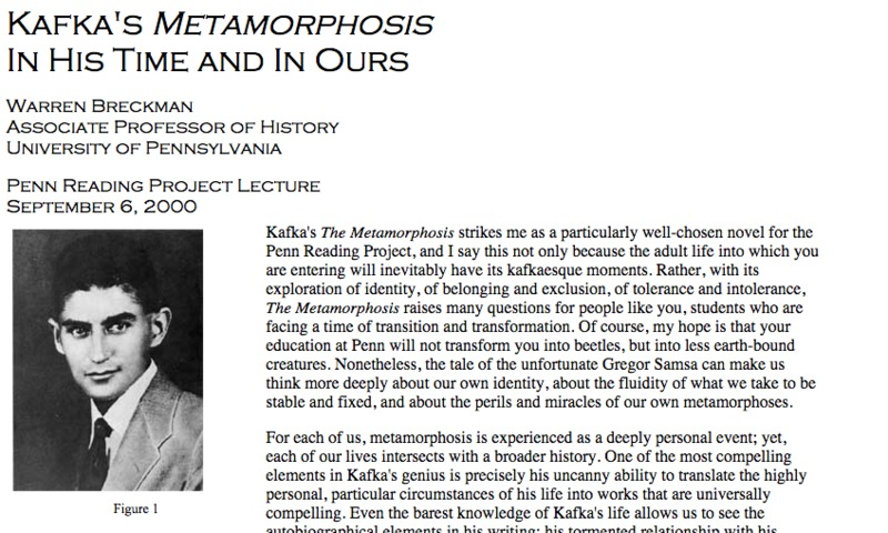 Kafka's Metamorphosis in His Time and Ours