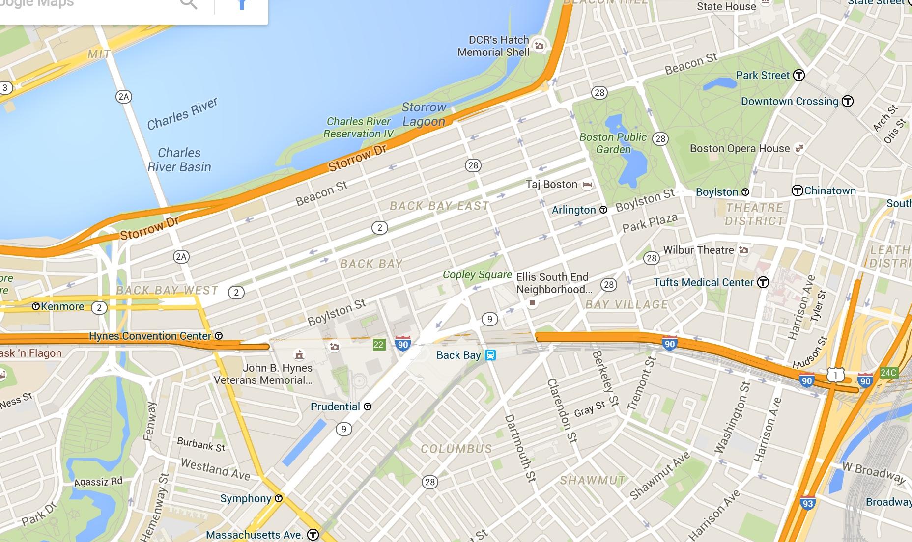 map copley square boston Google Map Emerald Necklace Copley Square And Boston Commons The Urban Imagination map copley square boston