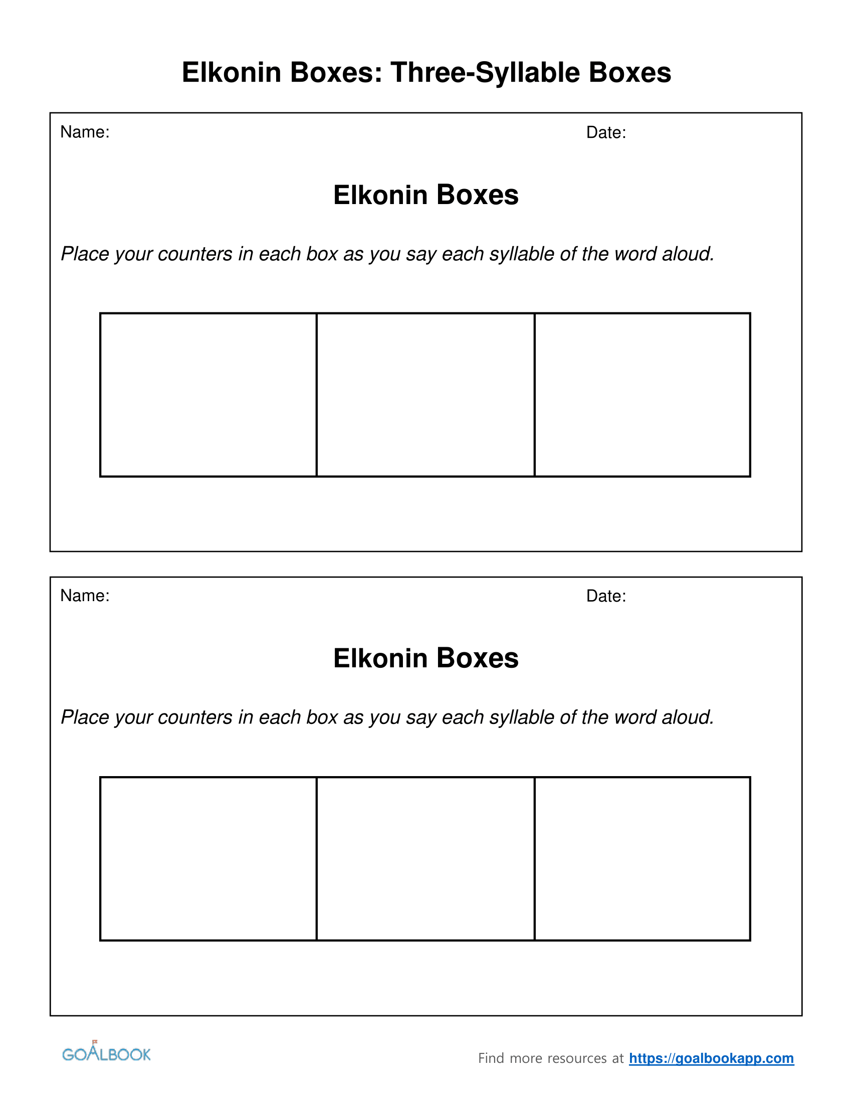 Elkonin boxes udl strategies for Elkonin boxes template