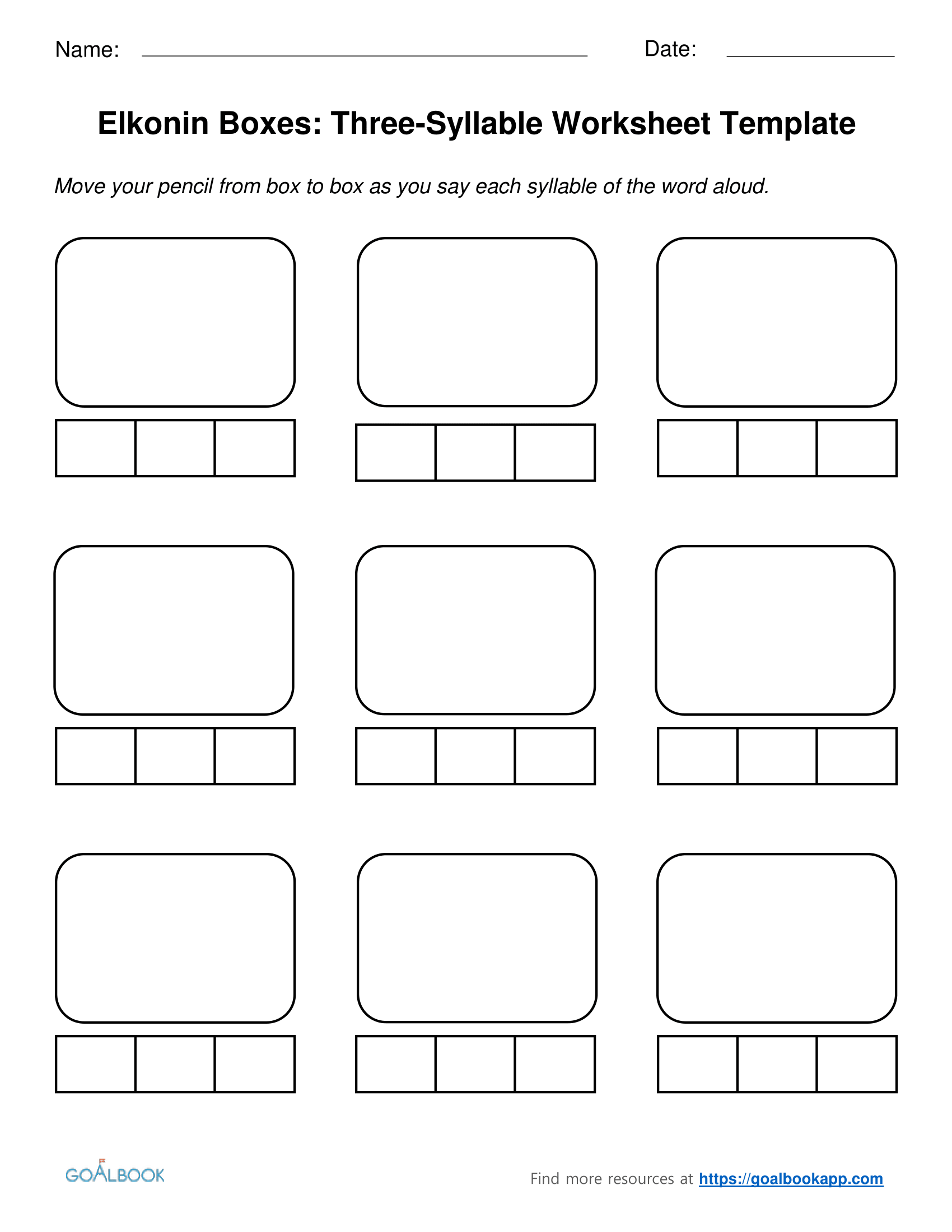 worksheet Word Segmentation Worksheets three syllable elkonin boxes and worksheets goalbook pathways enlarge