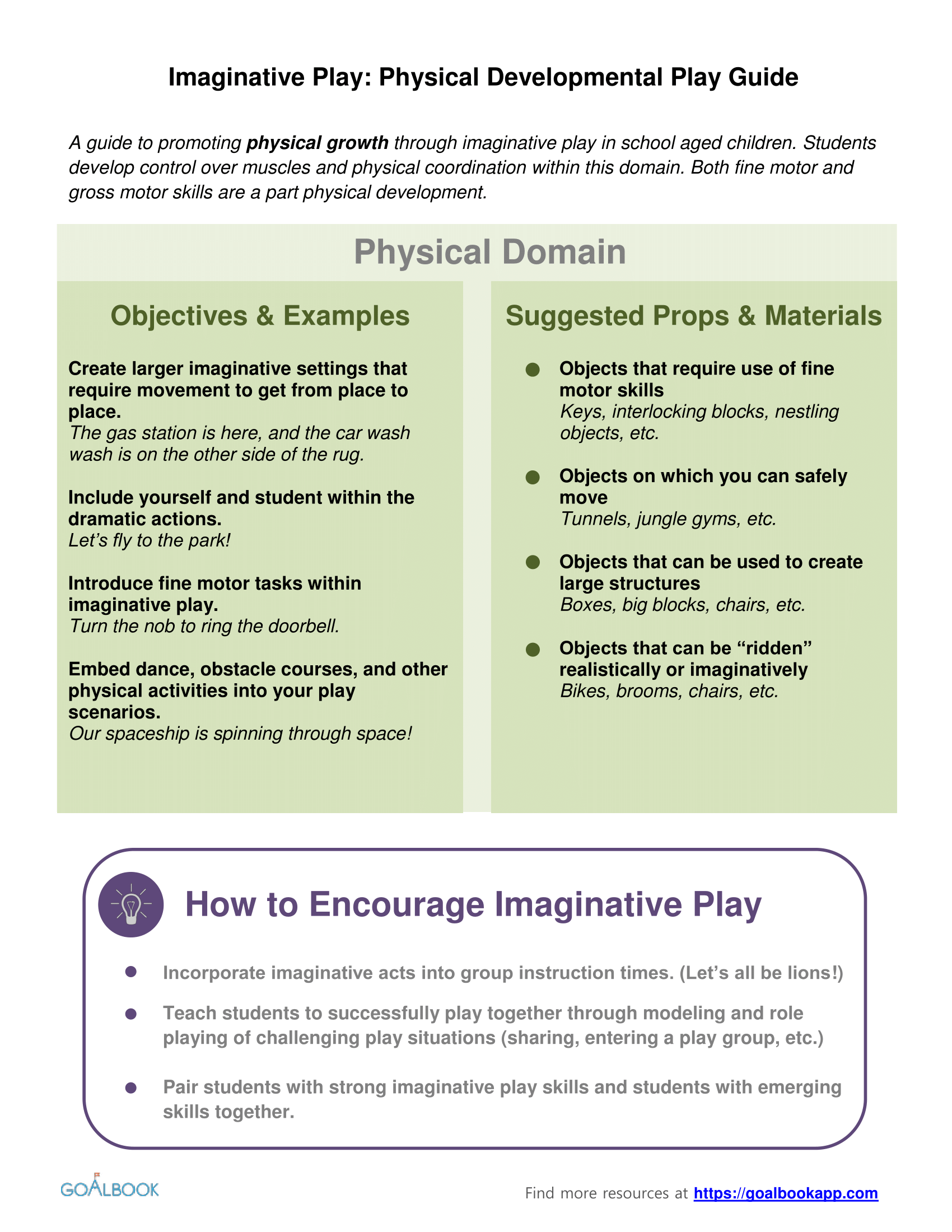 Physical Development Imaginative Play Guide