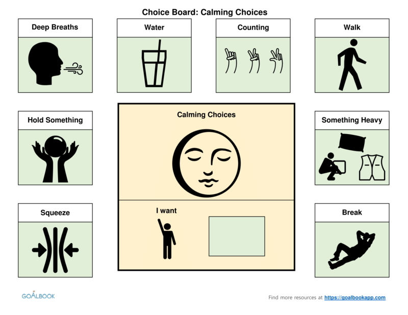 Calming Activities Choice Board