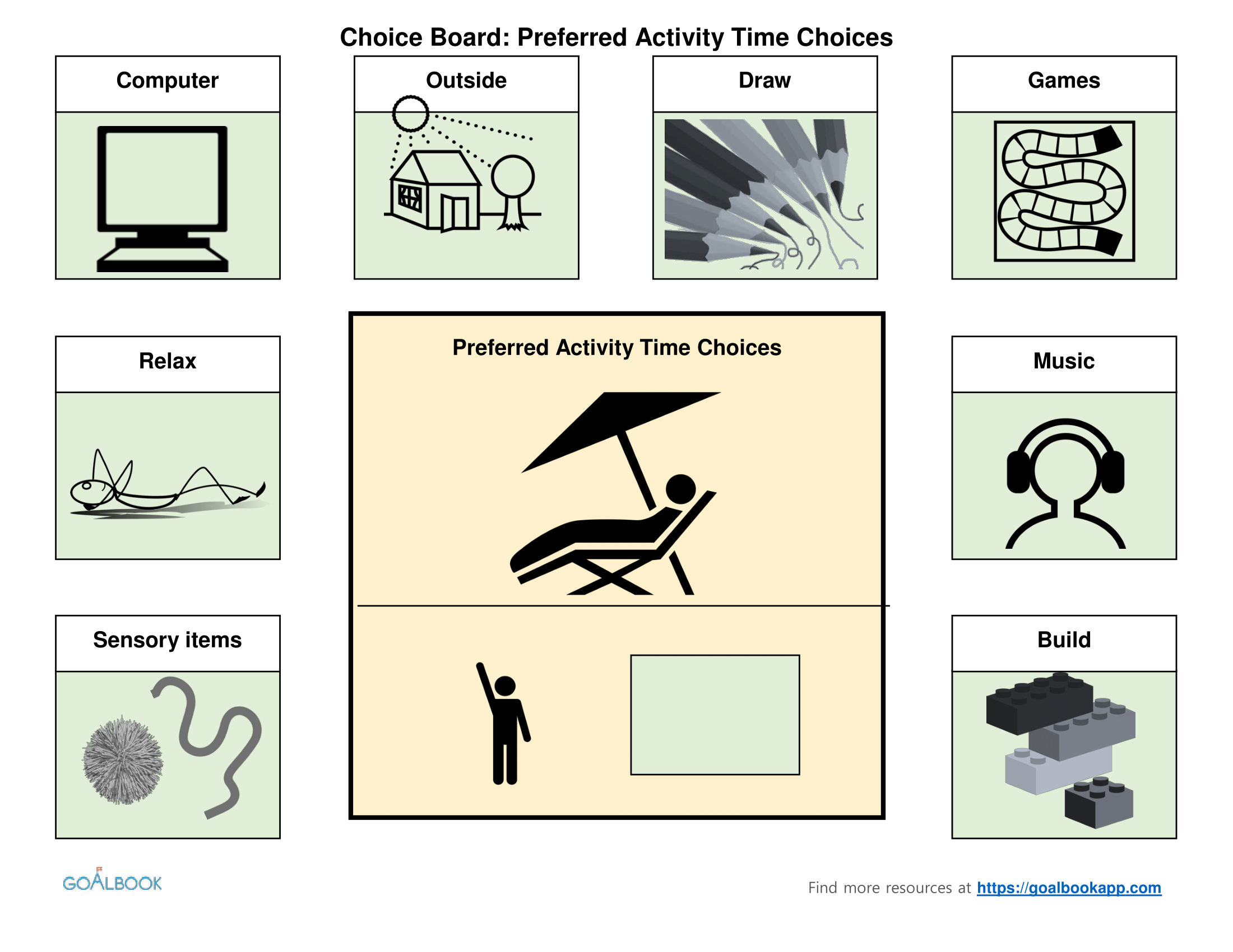 Preferred Activity Choice Board