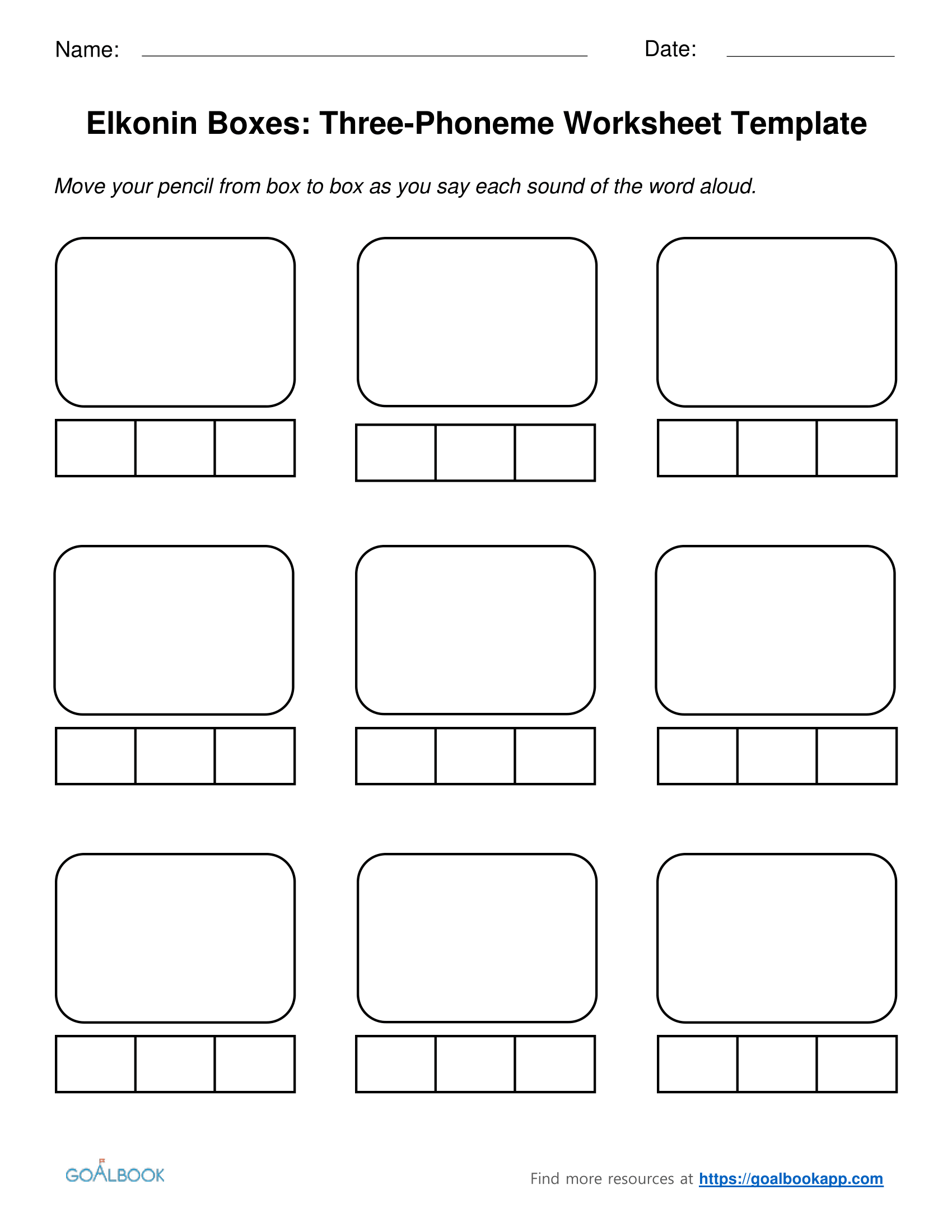 worksheet Phoneme Segmentation Worksheets three phoneme elkonin boxes and worksheets goalbook pathways enlarge
