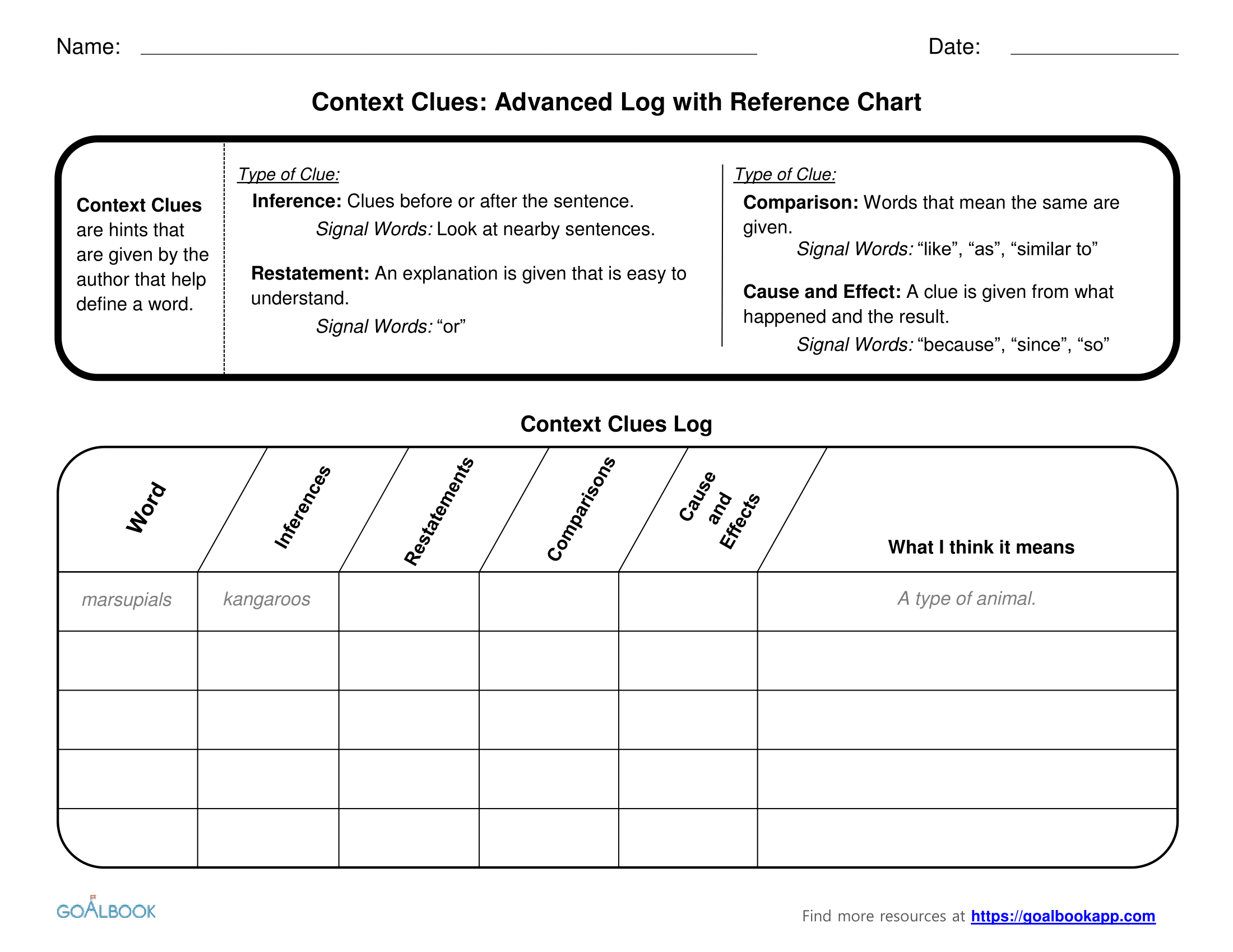 Advanced Log for Recording Context Clues
