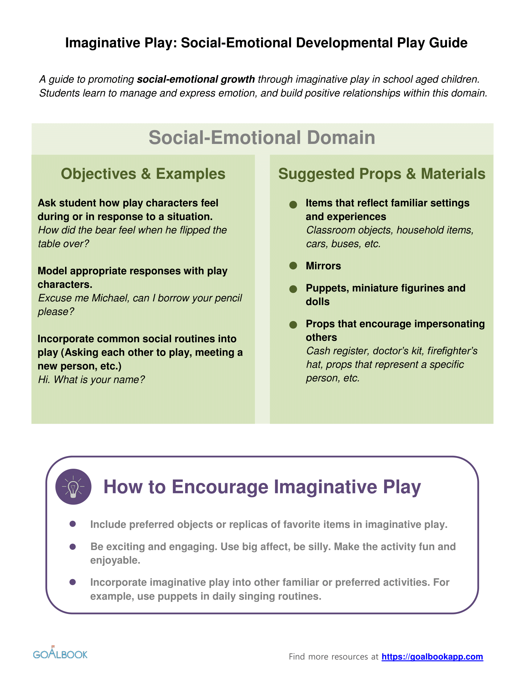 Social-Emotional Development Imaginative Play Guide
