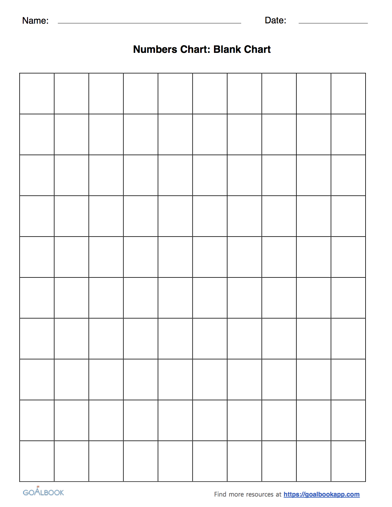 worksheet Blank 100s Chart Duliziyou Worksheets for Elementary – Number Chart Template