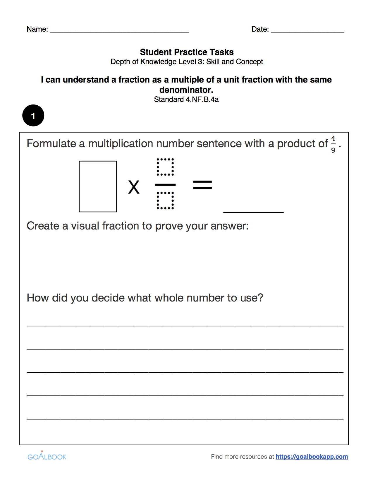 worksheet Create A Number Line 4 nf multiply a fraction by whole number math favorite