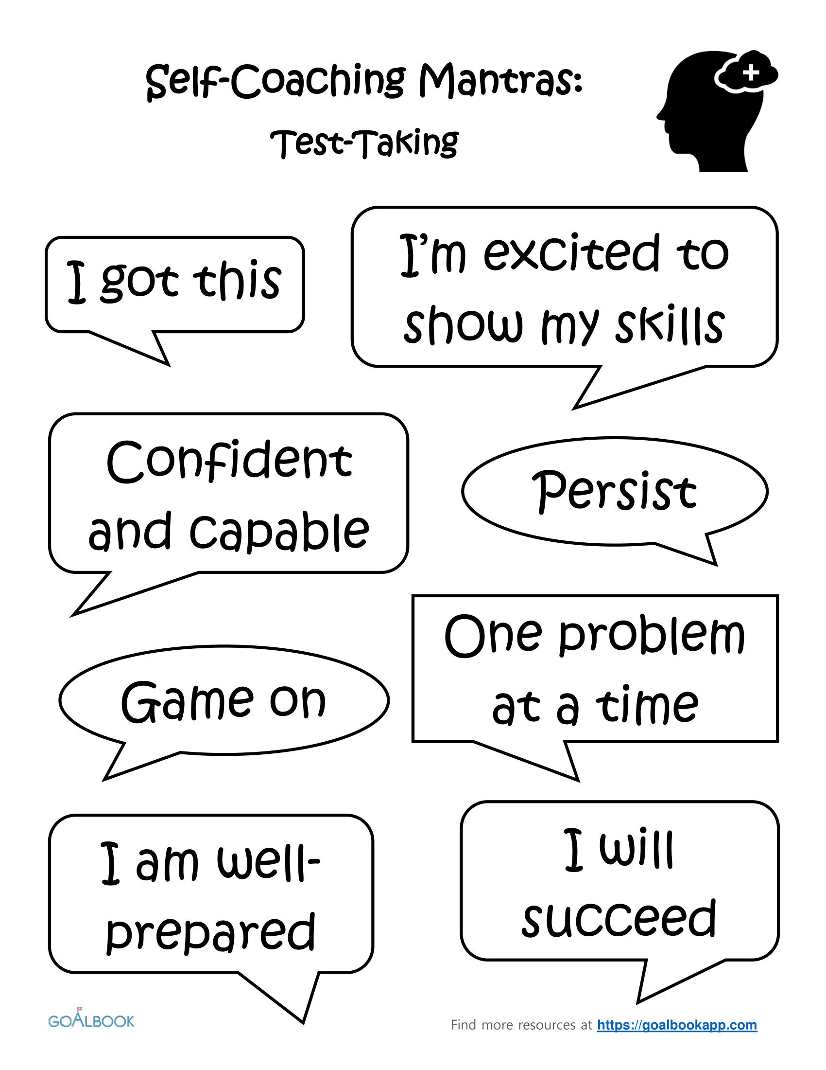 Test-Taking: Self-Coaching Mantras