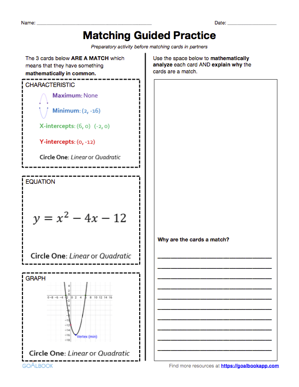 HSFIF4 Key Features of Graph and Tables – Multiple Representations of Functions Worksheet