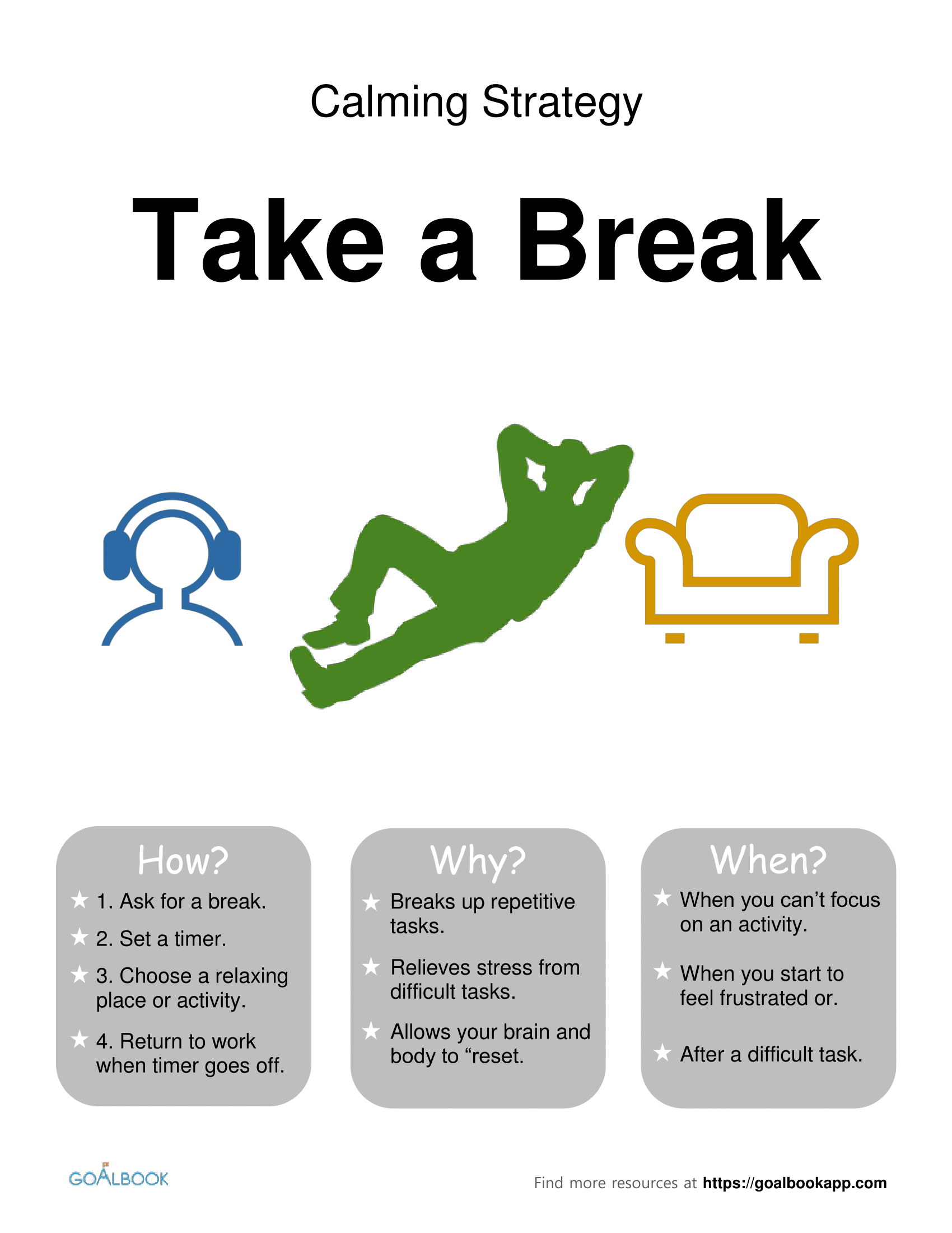 Take a Break: Calming Strategy Poster