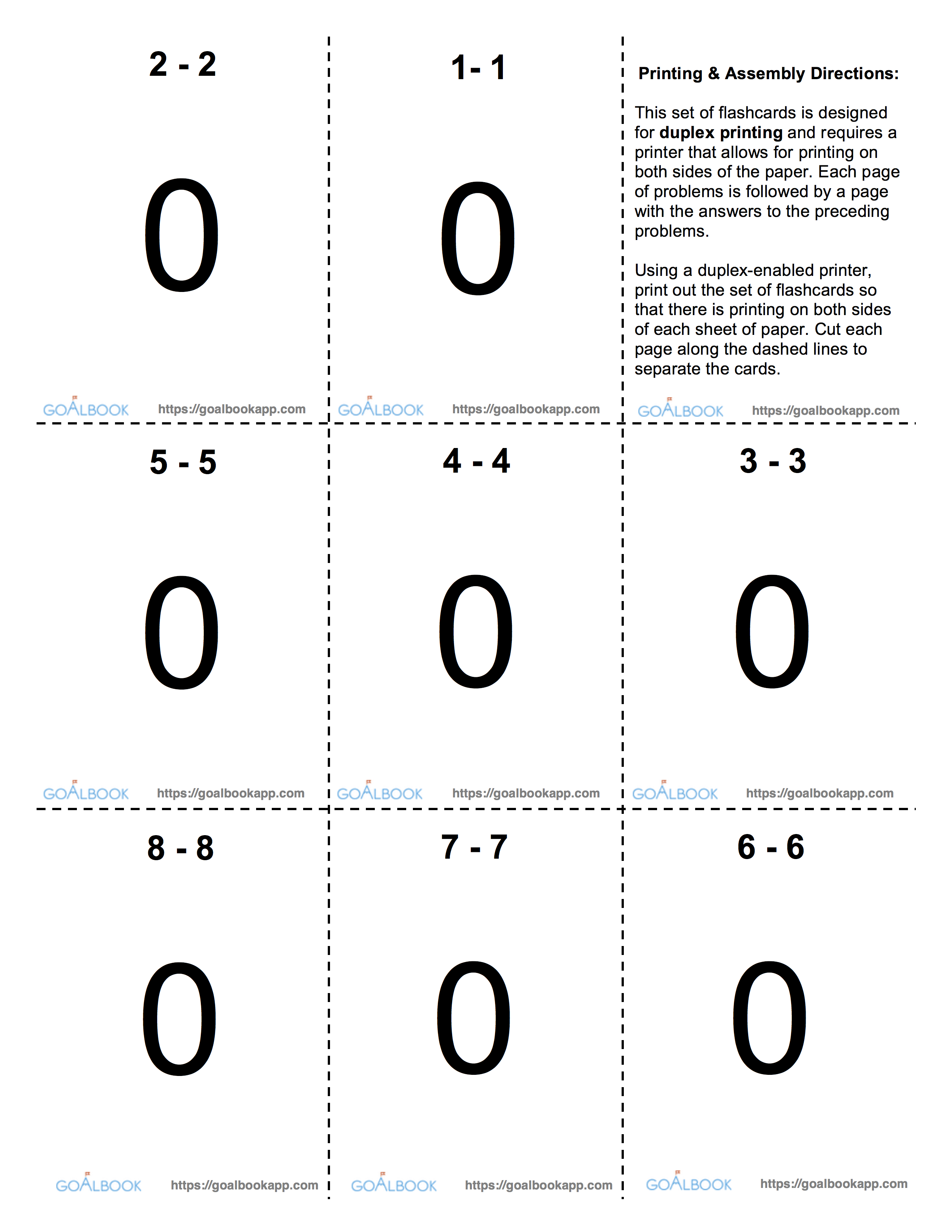 addition and subtraction flash cards pdf