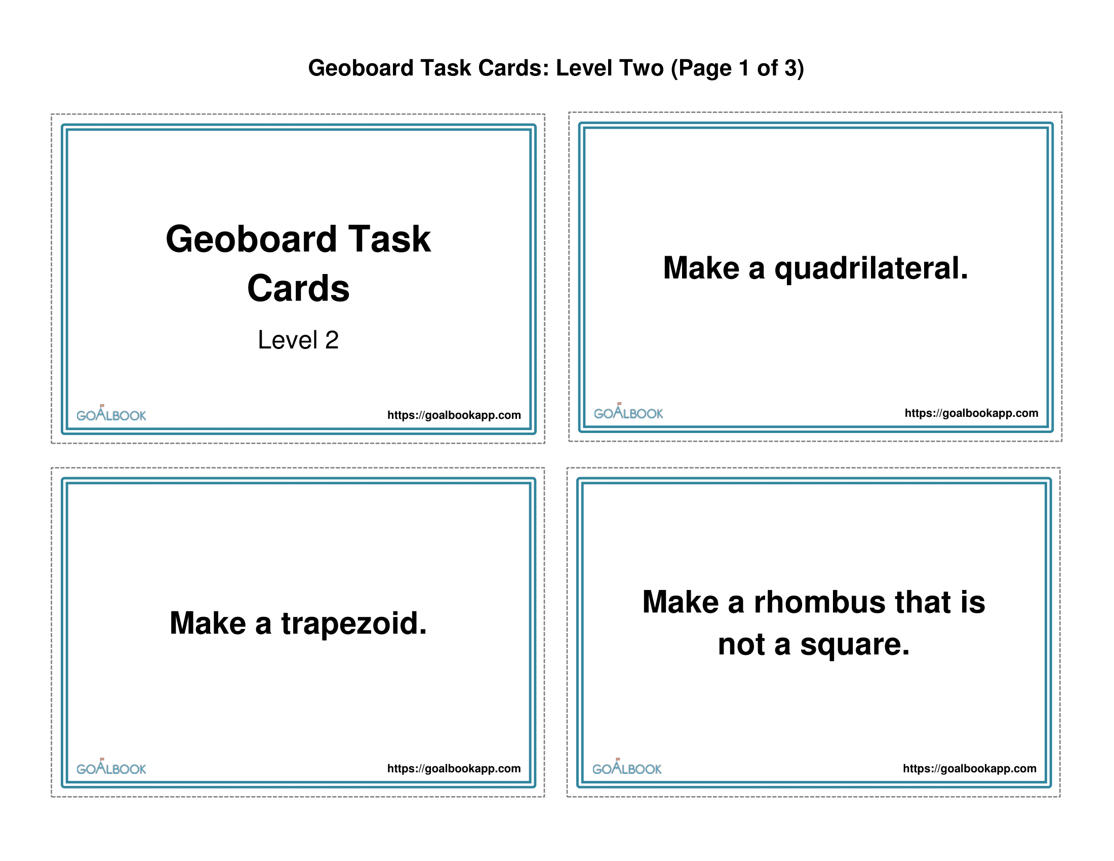 Geoboard Task Cards (Level 2): Quadrilaterals and Angles