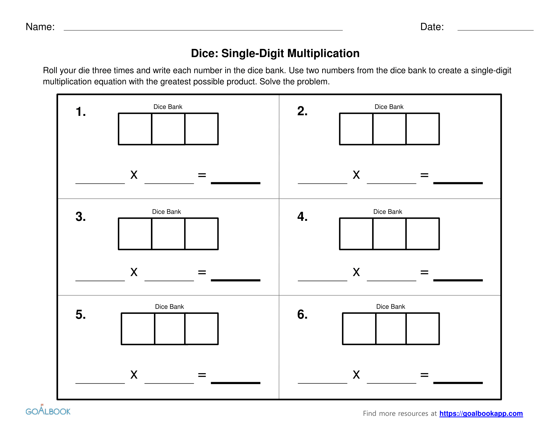 Multiplication with Dice