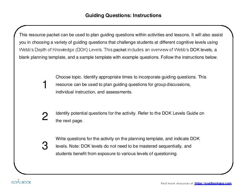 Guiding Questions Planning Template Goalbook Pathways