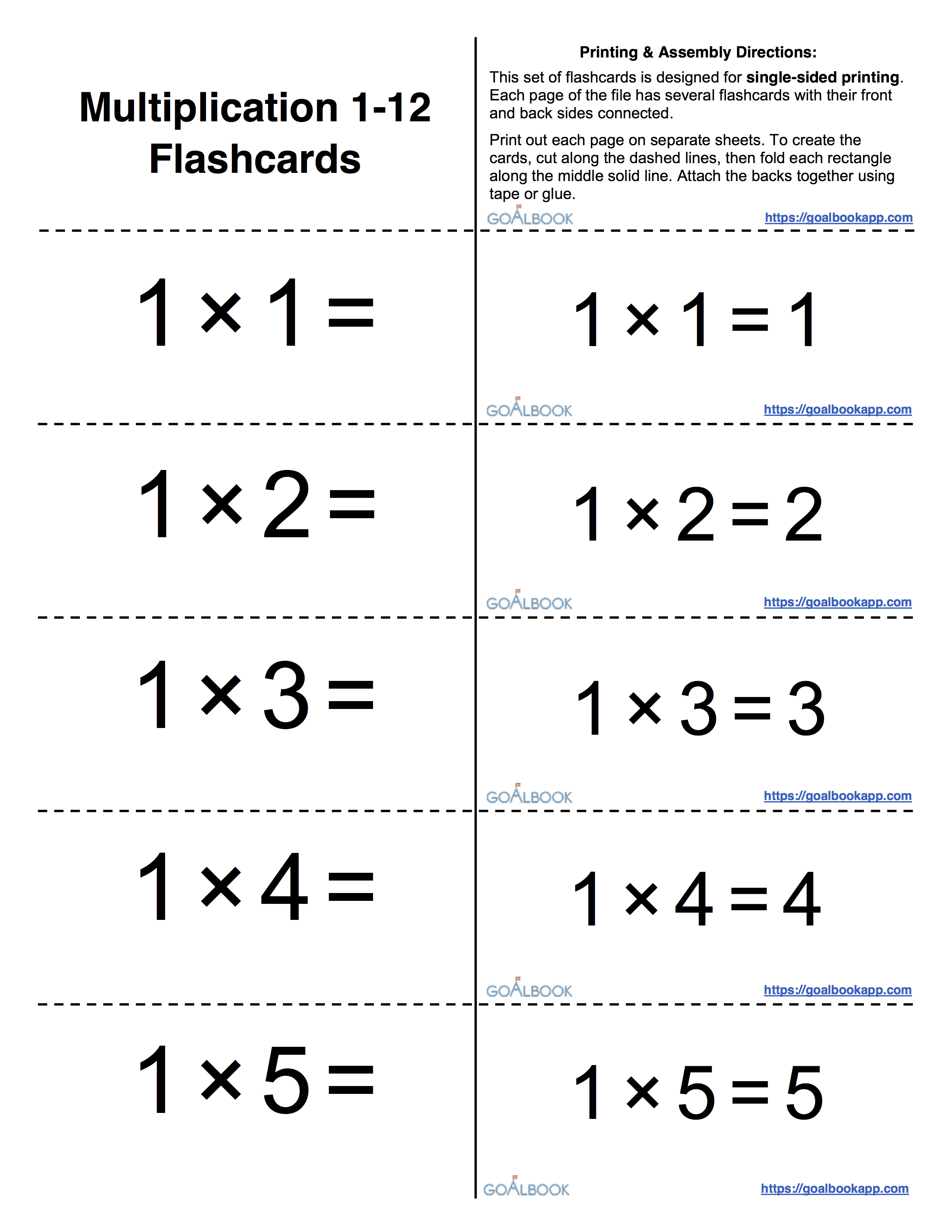 worksheet Division Flash Cards blank flashcards for practicing math facts goalbook pathways