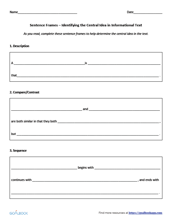 RI32 Determine Main Idea Reading Informational Text – Central Idea Worksheets