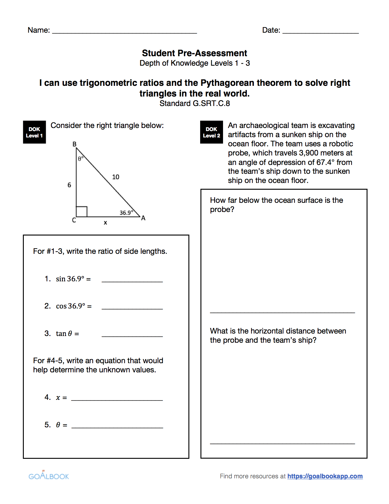 HSG-SRT.8 Right Triangles and the Pythagorean Theorem ...