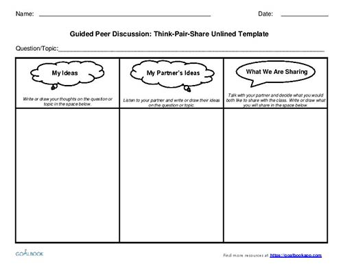 Think-Pair-Share Discussion Templates (Grades 3-5)