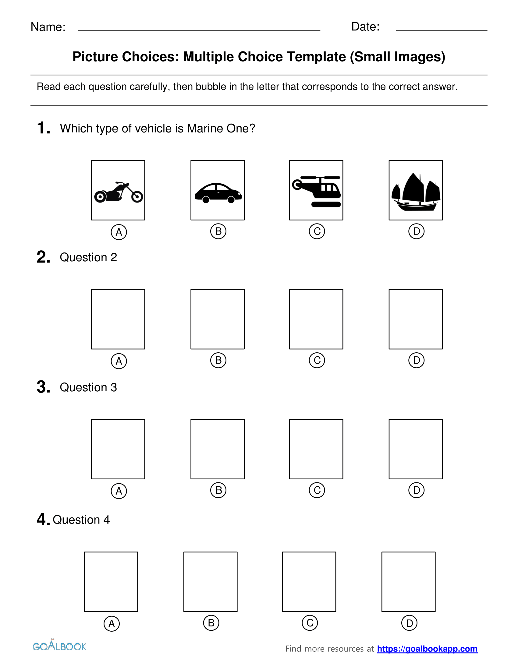 Multiple Choice Picture Choice Templates