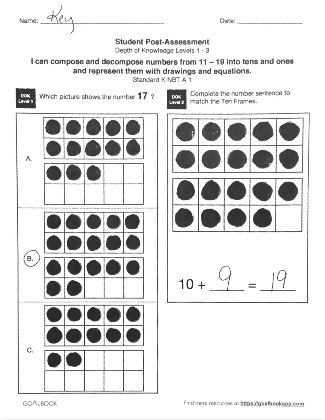 KNBT1 Decompose Numbers 1119 – Composing and Decomposing Numbers Worksheet