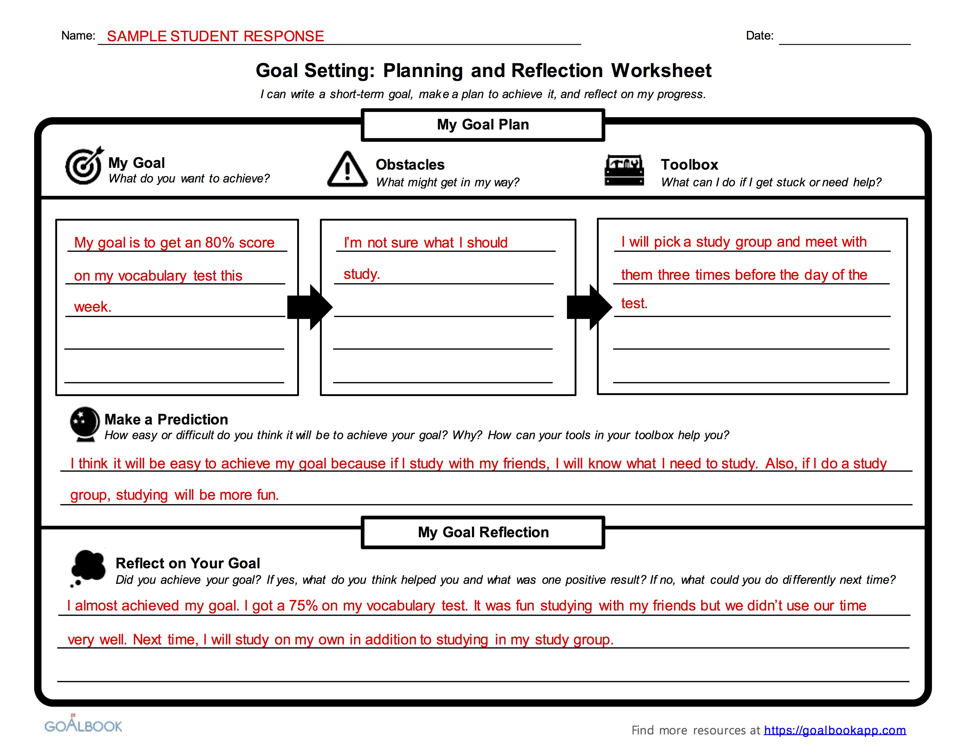 Inspiration Worksheets Academic Goal Setting Worksheet ...
