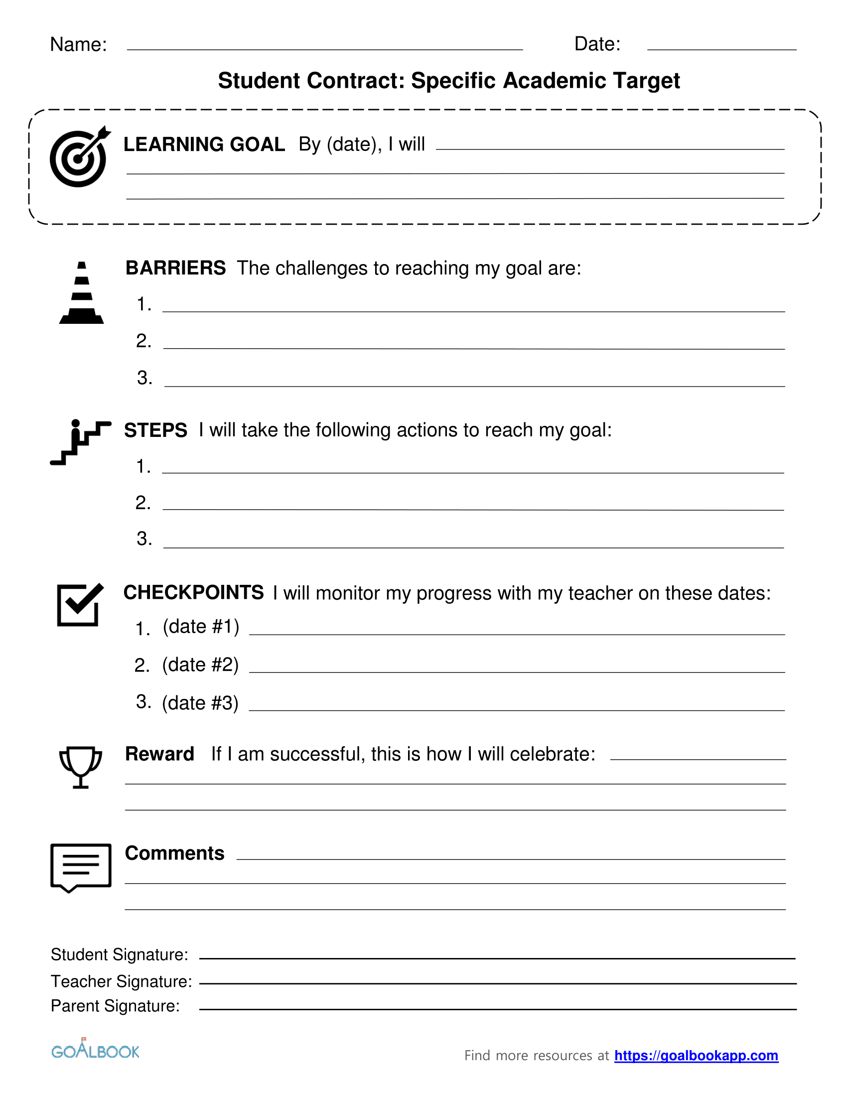 Contracts udl strategies for Student contracts templates