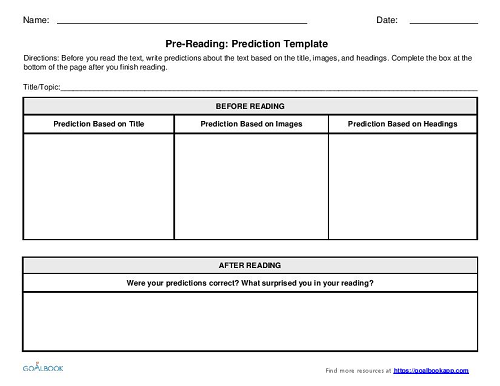 Pre-Reading Graphic Organizers (3-5)