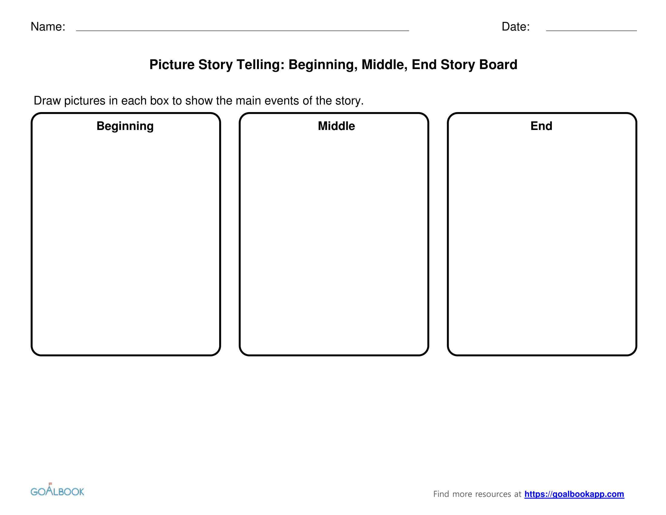 Beginning, Middle, End Story Boards