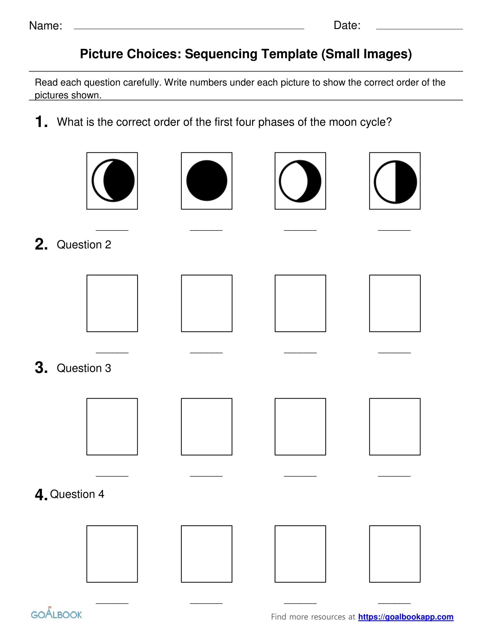 Sequencing Picture Choice Templates