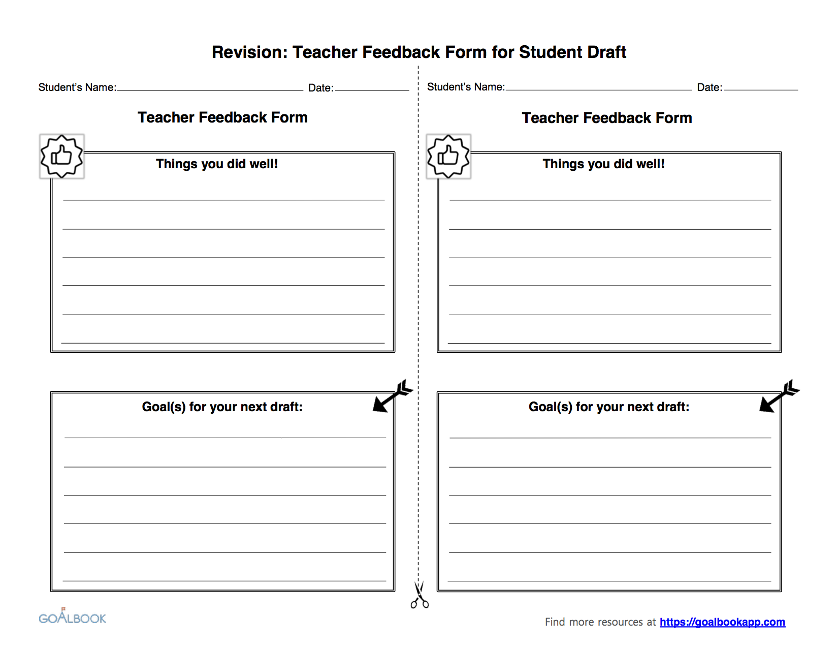 Teacher Feedback Form for Draft Revising