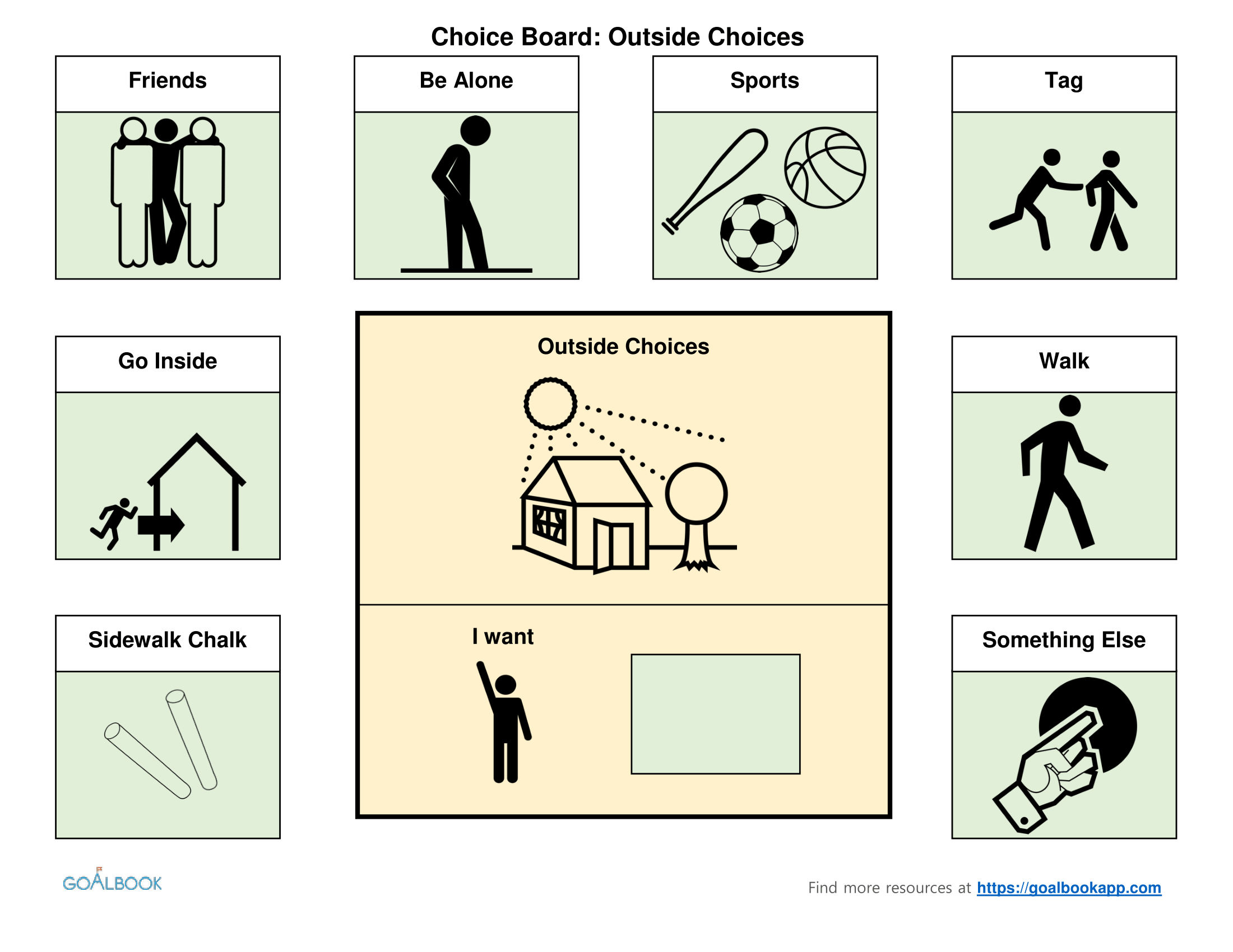 Outside Activities Choice Board