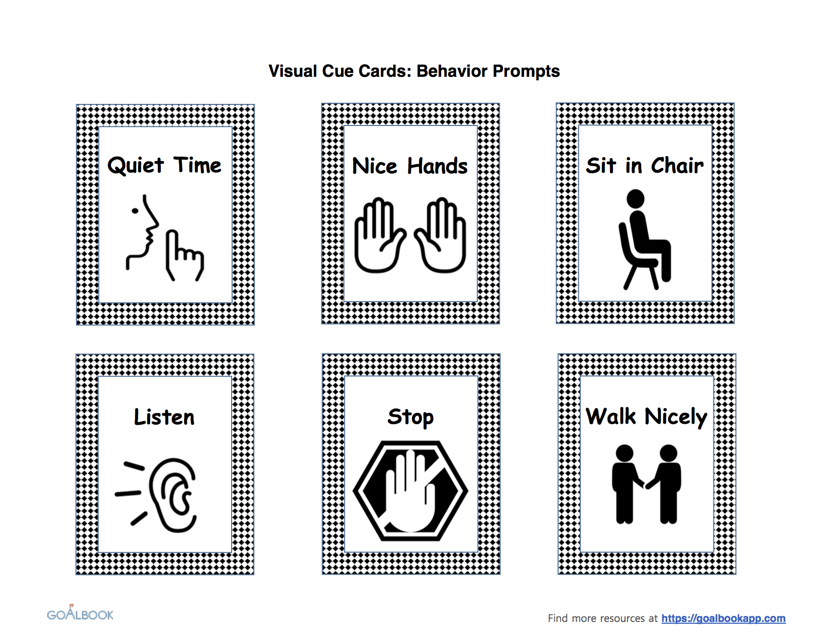 Visual Cue Cards for Classroom Behaviour by ...