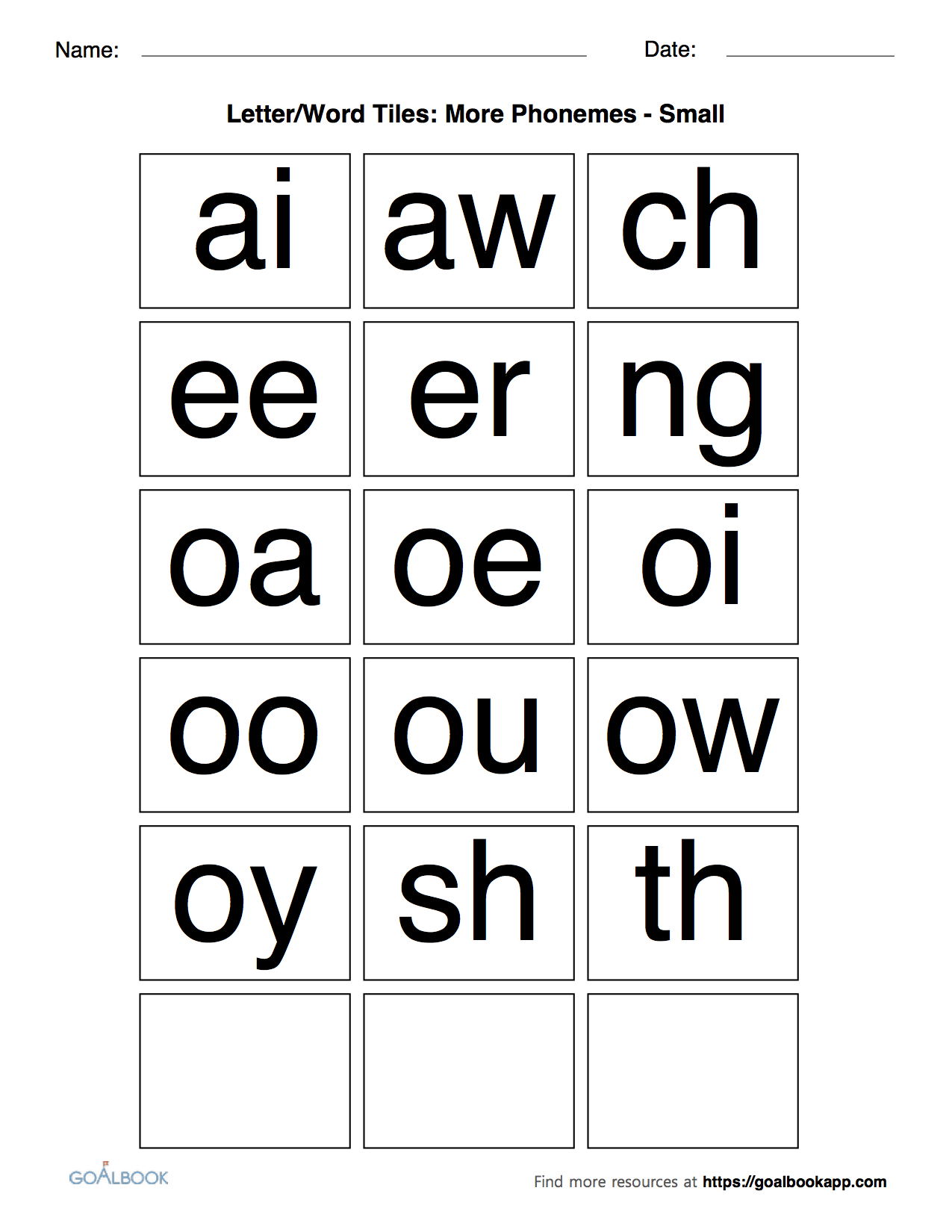 Small Common Phoneme Tiles