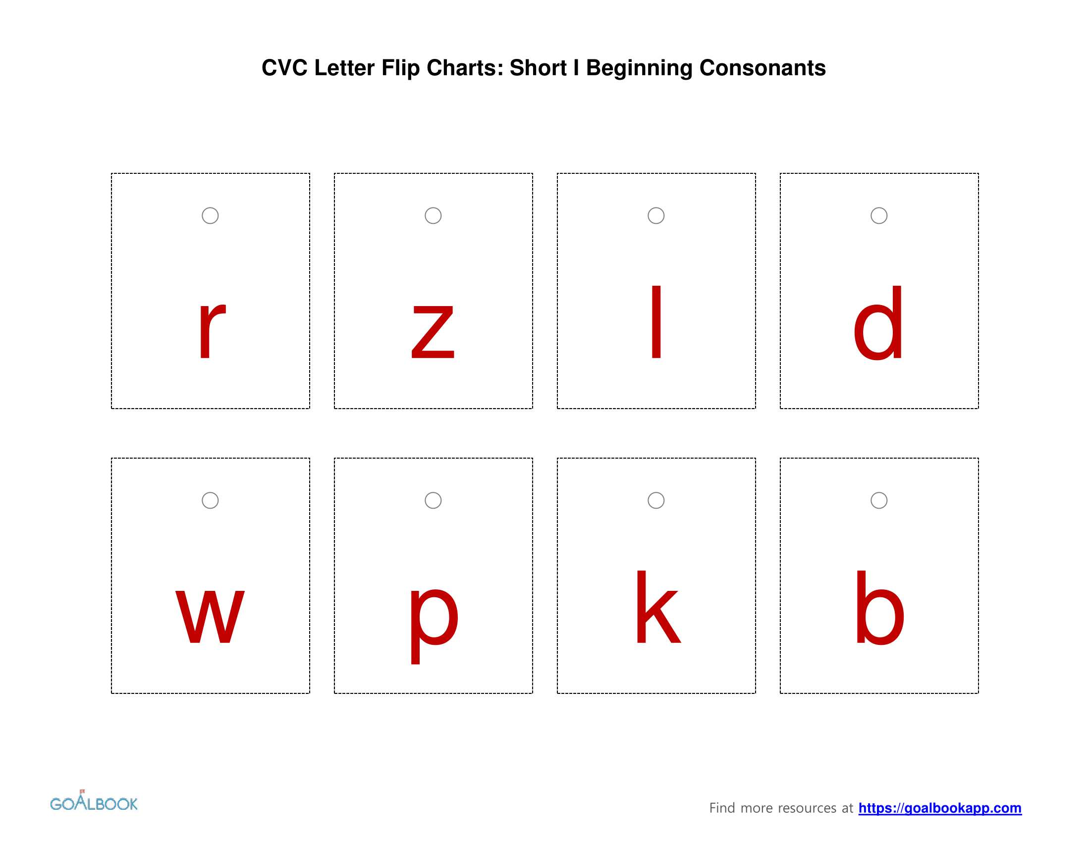 Short-I Vowel Flip Chart