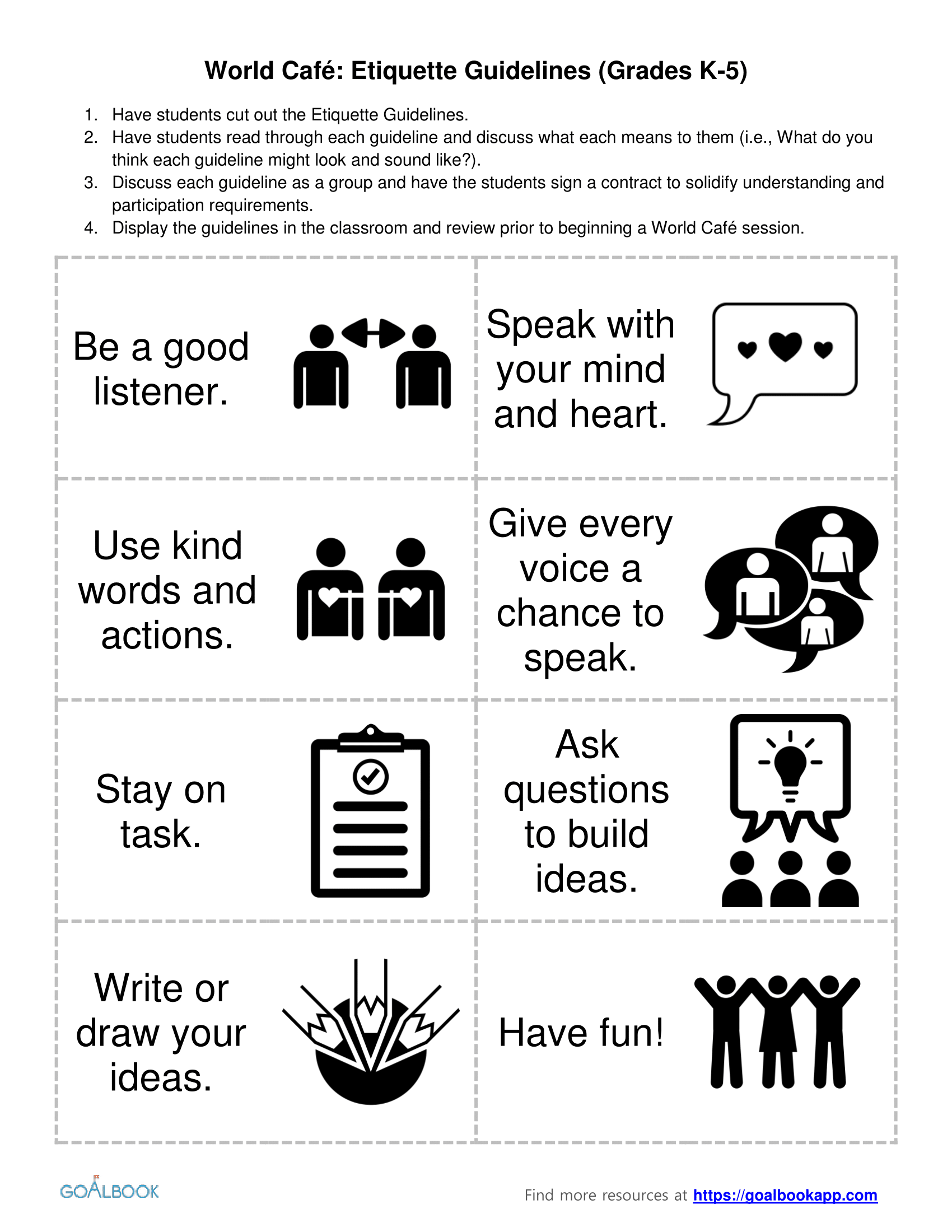 World Café Etiquette Guidelines (K-5)