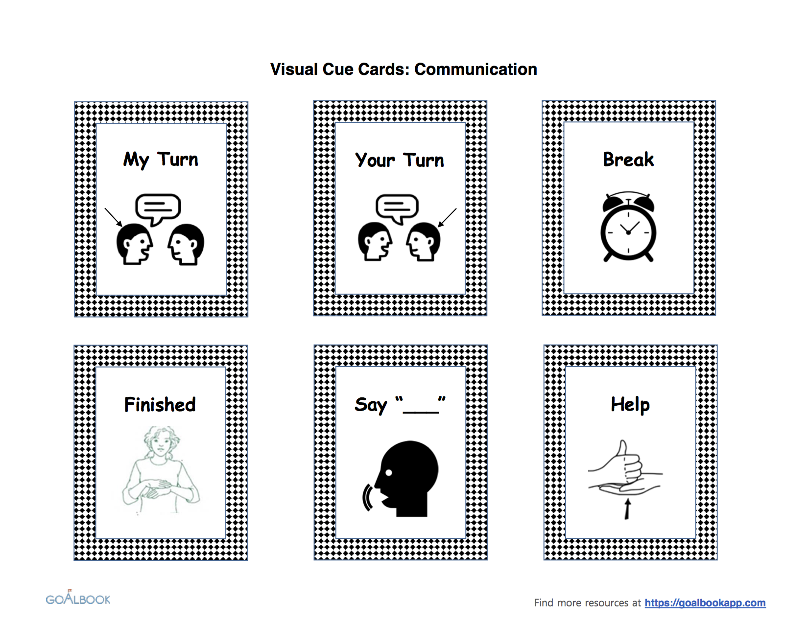 Student Communication: Visual Cue Cards