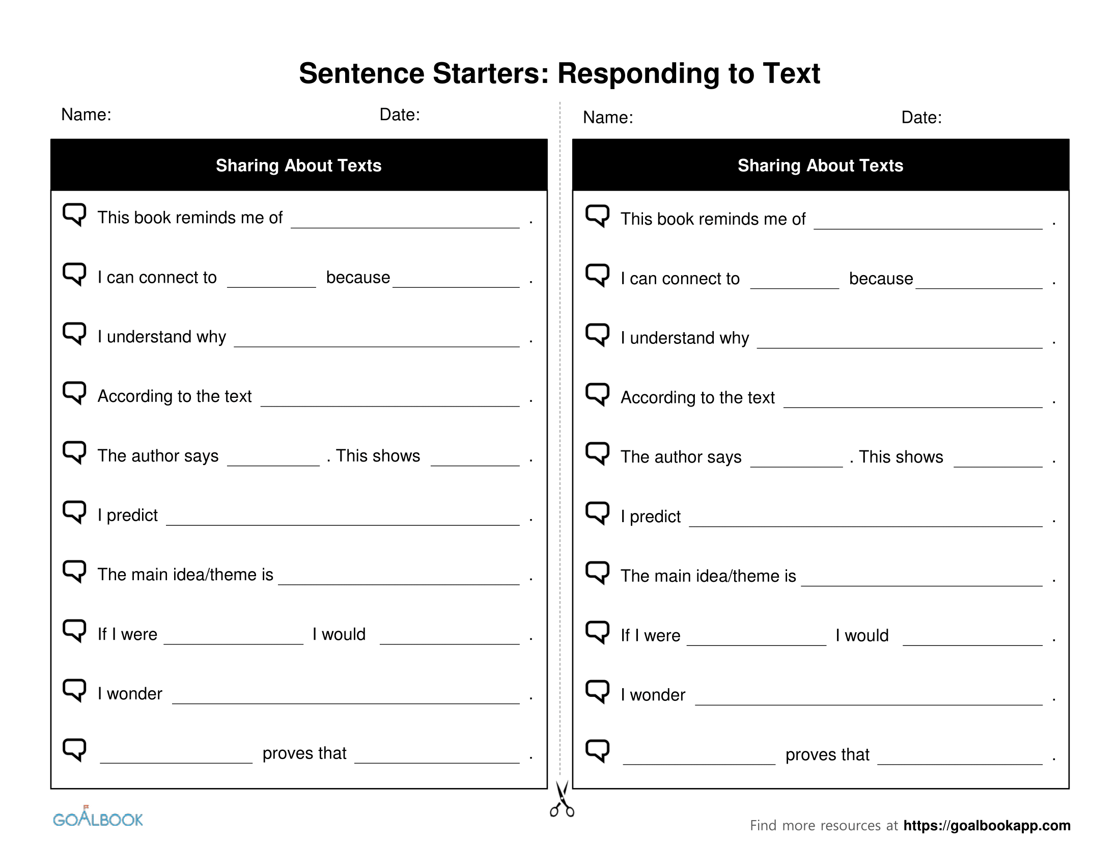Analyzing literature sentence starters