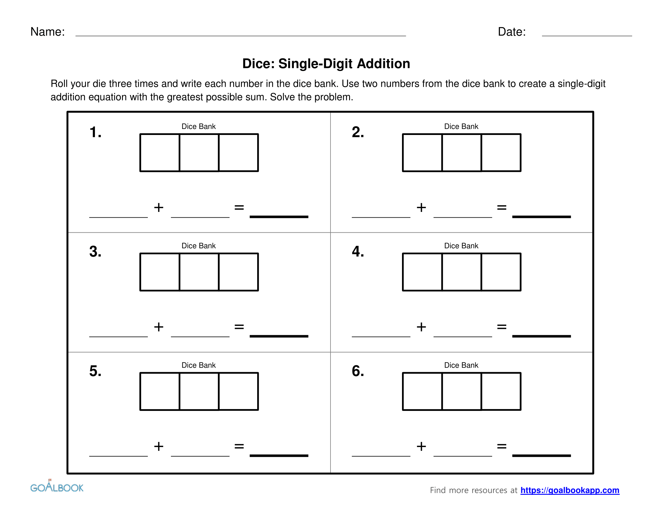 worksheet Single Digit Addition single digit addition and subtraction with dice goalbook pathways dice