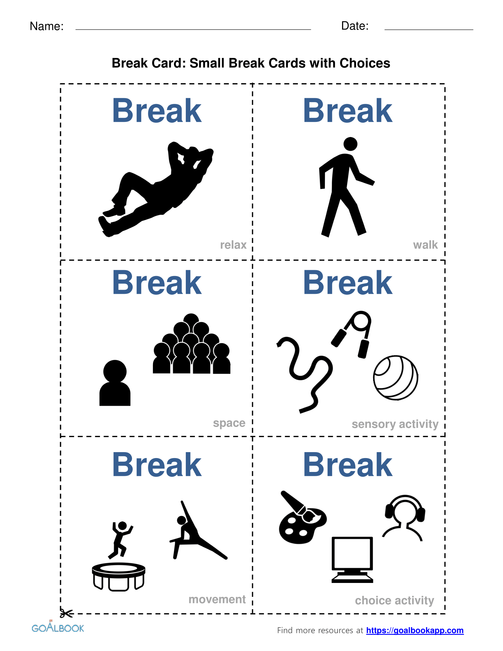 Break Activity Cards