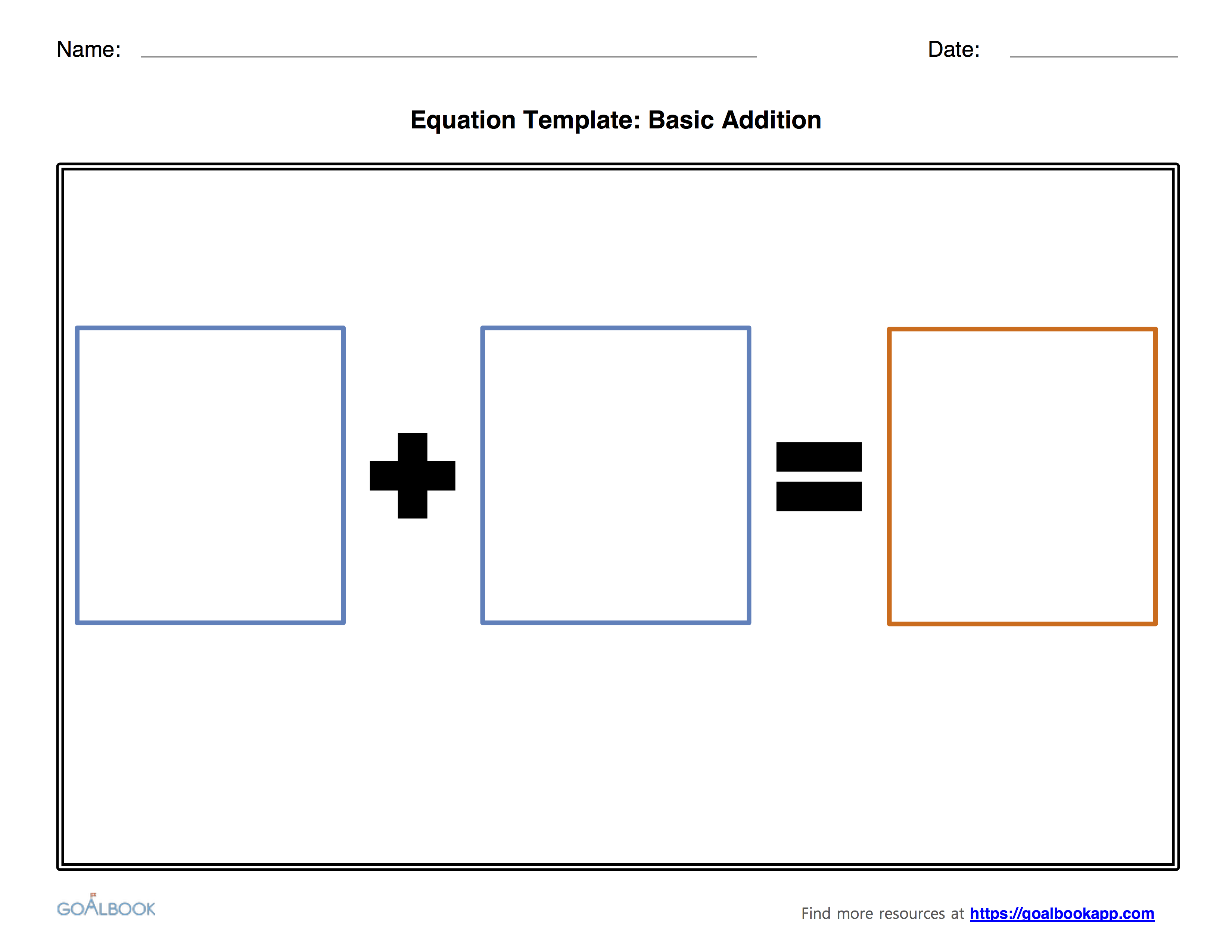 Addition and Subtraction Equation Templates