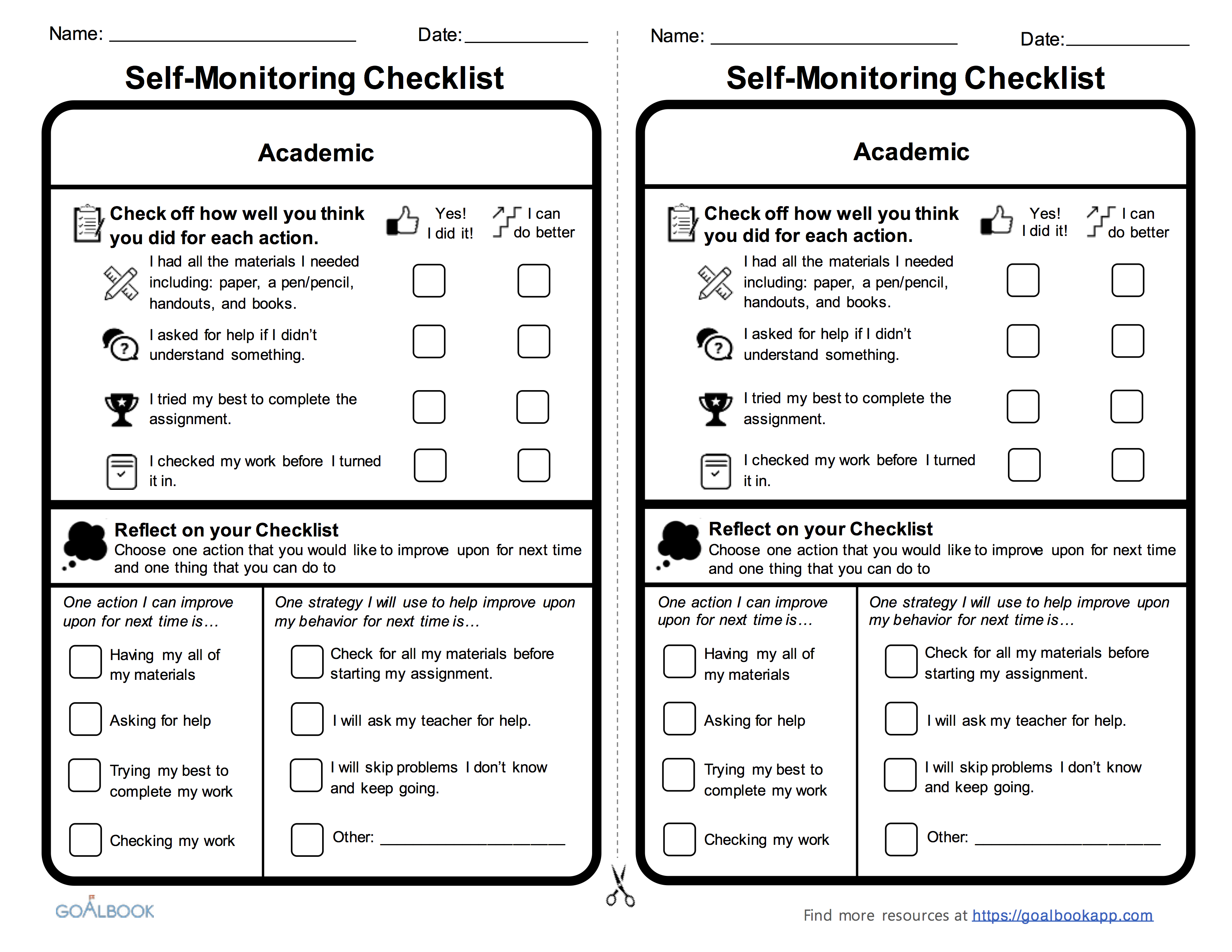 self management skills checklist related keywords suggestions academic self monitoring checklist