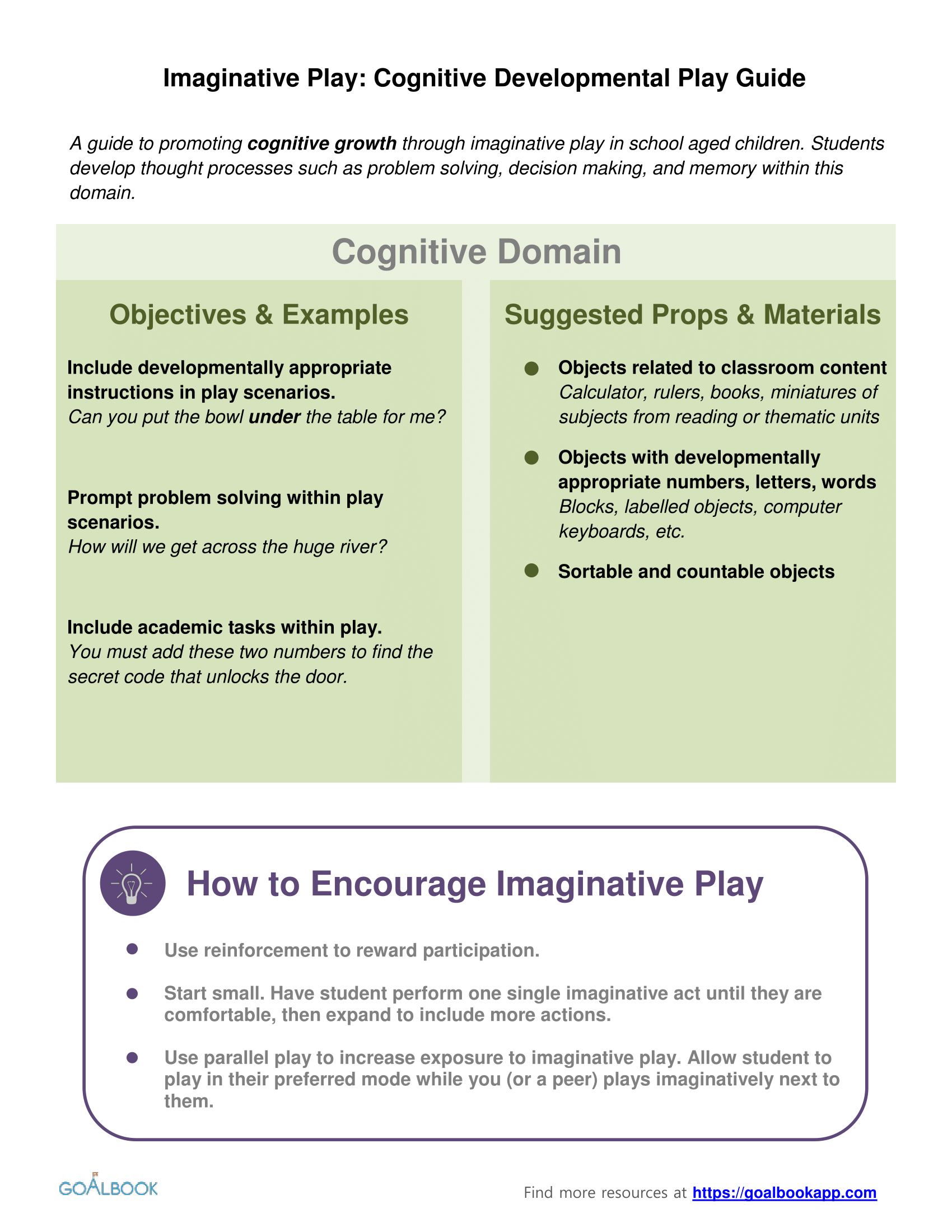 Cognitive Development Imaginative Play Guide